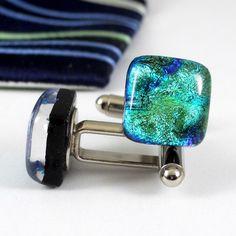 Dichroic Glass Herringbone Cufflinks, Yellow Gold and Green, Handmade | ResetarGlassArt - Jewelry on ArtFire