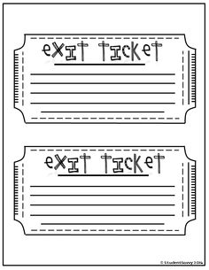 photograph about Exit Tickets Printable titled 42 Simplest Exit Tickets photographs within just 2018 Exit tickets