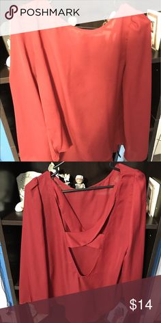 Crossback Long Sleeve blouse Only worn once! Red with cross back design! No stains or tear! Tops Blouses