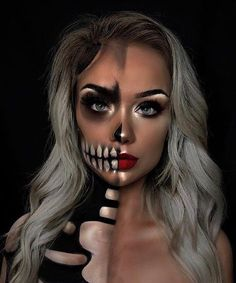 10 Stunning Makeup Ideas for Halloween Amazing Halloween Makeup, Cute Halloween Makeup, Halloween Eyes, Halloween Makeup Looks, Halloween Costumes, Skeleton Makeup, Creative Makeup Looks, Theatrical Makeup, Fantasy Makeup