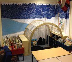 Reception book corner. Winter theme- chill out with a good book. #book corner #reception #eyfs