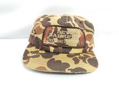 VTG Levi Garrett Chewing Tobacco 80's Hunting Fishing Patch Camo Snapback Hat #Swingster #HatCap