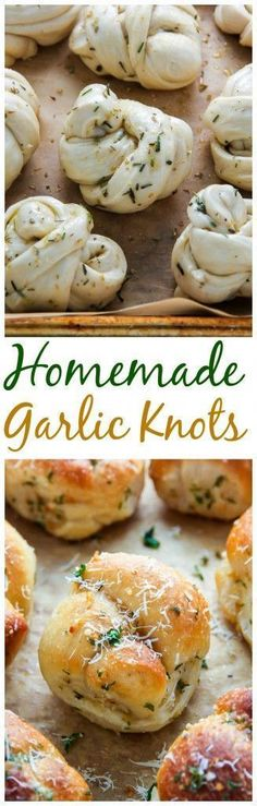 Chewy and delicious Homemade Garlic Knots! It doesn't get more delicious than this! Chewy and delicious Homemade Garlic Knots! It doesn't get more delicious than this! I Love Food, Good Food, Yummy Food, Delicious Recipes, Garlic Knots, Garlic Rolls, Garlic Salt, Garlic Butter, Bread And Pastries