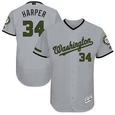 11a6577b8d7 Nationals  34 Bryce Harper Grey Flexbase Authentic Collection Memorial Day Stitched  MLB Jersey