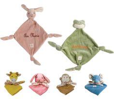 PersonalizeMyBabyBlanket.com - Miyim Bunny Monkey Giraffe Frog Organic 100% Cotton Security Blanket Blankie - Personalized Embroidery, $20.00 (http://personalizemybabyblanket.com/miyim-bunny-monkey-giraffe-frog-organic-100-cotton-security-blanket-blankie-personalized-embroidery/)