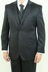 Men's Two Button Vested Black Shadow Stripe Suit          ~BUY 1 GET 1 FREE~