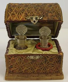 Vintage perfume bottle box with fitted interior and 2 glass perfume bottles