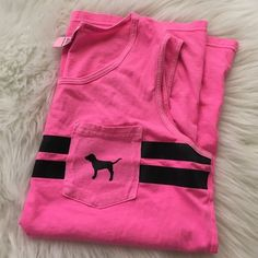 VS PINK campus tank Neon pink, Worn 2-3 times. 🚫 No trades. All sales final. PRICE FIRM PINK Victoria's Secret Tops Muscle Tees