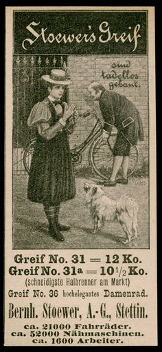 Reklame Werbung 1898 Stoewers Greif Bernh. Stoewer Stettin