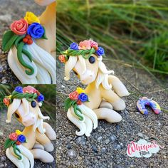 Pandora - Palomino Mare - Flower headband veil roses By Whisper Fillies Unique handmade polymer clay horse, pony, unicorn and fantasy creatures. Visit my collection of adorable little figurines on Facebook, Instagram and Etsy! Whisperfillies.etsy.com