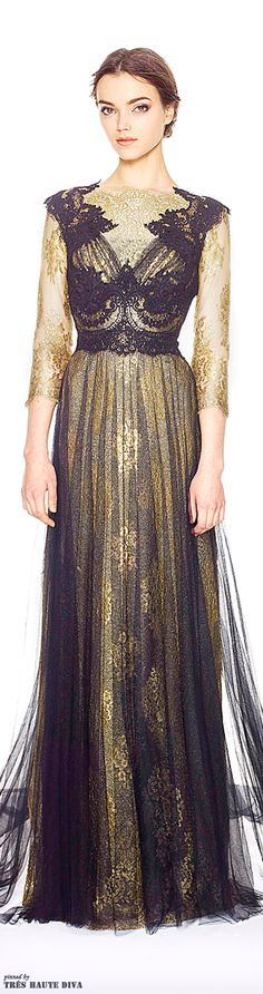 Marchesa Pre-Fall 2014- the sleeves and gold lace coming across the top seems off.