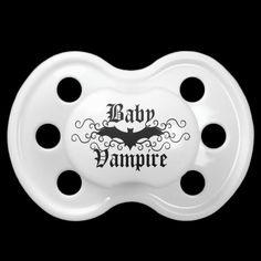 Cute baby vampire gothic bat elegant Halloween Pacifiers by the Hopeful Romantic.