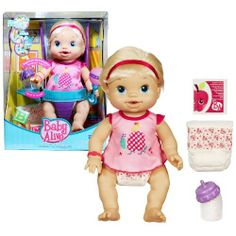 Hasbro Year 2010 Baby Alive Wets 'N Wiggles Interactive 13 Inch Tall Baby Doll Playset with Baby Girl Doll, 2 Diapers, Dress,Packet of Doll Juice Mix and Bottle (Caucasian Version) by Hasbro. $39.99. I love to kick my legs and play with you, Mommy! Can you feed me my bottle? Is it time to change my diaper? I wiggle, giggle and babble to let you know how I feel!