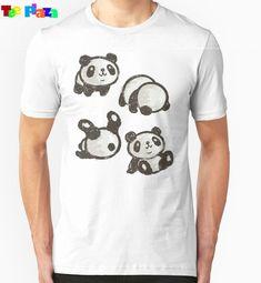 Teeplaza T Shirt Brand Novelty Men Crew Neck Short-Sleeve Rolling Panda Tees