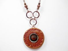Stamped Clay Pendant Necklace Beaded Jewelry by LittleBitsOFaith, $22.00