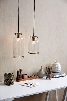 minimalist home office desk with glass pendant lights Workspace Inspiration, Interior Inspiration, Interior Styling, Interior Decorating, Interior Design, Interior Architecture, Interior And Exterior, Office Decor, Home Office