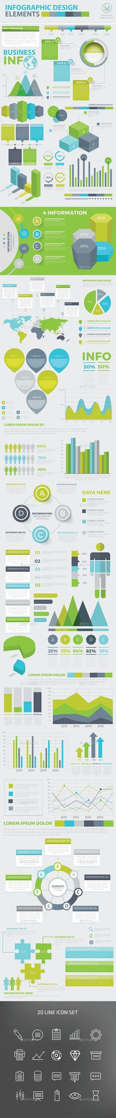 Modern Infographic elements design — Vector EPS #template #business • Available here → https://graphicriver.net/item/modern-infographic-elements-design/16723982?ref=pxcr