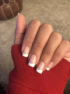 Gold Glitter French Manicure Acrylic Nails