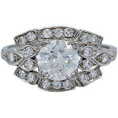 Pre-owned Outstanding 1.15ct. Diamond & Platinum Art Deco Engagement... ($14,245) ❤ liked on Polyvore featuring jewelry, rings, engagement rings, art deco diamond ring, pandora jewelry, pre owned engagement rings, art deco ring and platinum ring