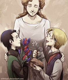 kibbi:    a thought for their beloved mother:A beautiful bouquet of flowers by the tidy and clean Loki..2 daisies, grass, soil and roots by the muddy and smelly Thor..  Thor please…LOL