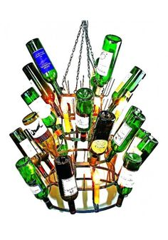 Wine bottle, Chandelier Steel Finish Eight Light Iron Wine Bottle Chandelier French Riddling Rack