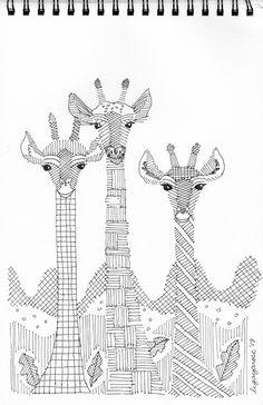 Giraffes Zentangle : My Drawing Journal Giraffe Coloring Pages, Coloring Book Pages, Zentangle Drawings, Zentangles, Drawing Journal, Modern Embroidery, Sewing Hacks, Boy Or Girl, Quilts
