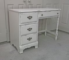 Vintage White Classic Cottage Style Bassett Desk - DK501 Shabby Farmhouse Chic by AshtonLuluVintage on Etsy