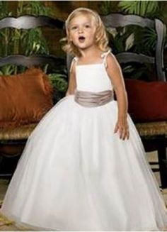 White Satin Spaghetti Straps Sash Flower Girl Dress
