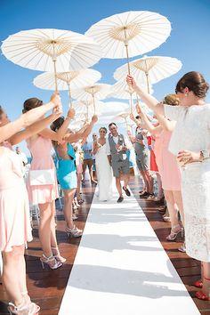 Ibiza Wedding & Event Photographer Hotel Aguas de Ibiza parasol guard of honour