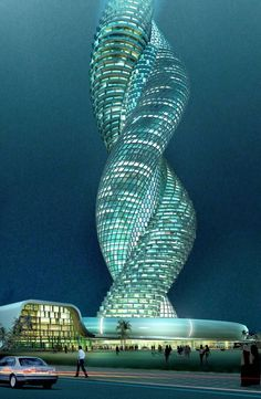 "Cobra Tower in Kuwait is supposed to rotate to give a cool spiral effect. There are questions like  ""How will the  elevator work?"" so and so forth. The news that this was an actual project to be started in 2008 near gulf street remains dormant, without concrete follow ups!  It is actually not much more than a computer generated concept at the moment, without any plans to actually go for a detailed design, let alone construction."