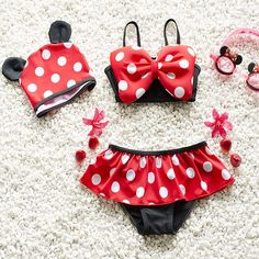 Baby Girls Swimwear /Minnie Mouse Bathing Suit with Polka Dots/Available in 4 Sizes