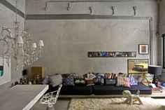 Kitchen Design  Minimalist Modern Living Room Apartment Design With Picture Wall Frame Design Idea Cemento Loft