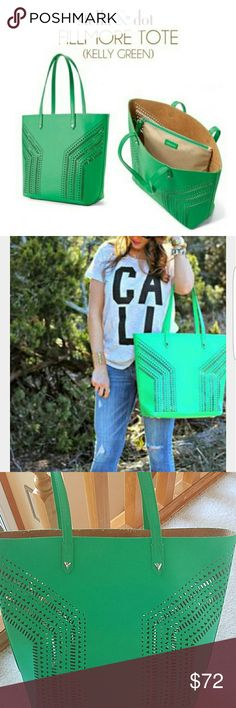 Stella and Dot Filmore Tote Bright Kelly green! Perforated tote with leather interior, exterior is vegan leather. Open tote with pouch. In like new condition.  Used as a sample only. Looks brand new! Perfect for spring and summer! Stella & Dot Bags Totes
