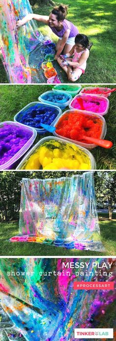 Messy Sensory Art with Homemade Gel Paint Goopy homemade three-ingredient gel paint and a shower curtain are all you need for this messy play sensory rainbow dream. Preschool Color Activities, Outdoor Activities For Toddlers, Preschool Art Projects, Painting Activities, Rainbow Curtains, Kids Curtains, Toddler Messy Play, Messy Monday, Sensory Art