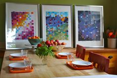 diy artwork for walls from fabric scraps/kids' clothes!