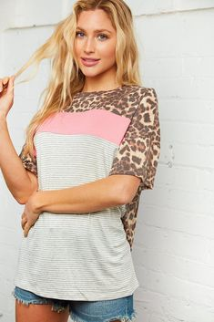 Animal & Coral Stripe Color Block Top Make Your Own Sushi, Bathing Suit Covers, Made Clothing, Cute Tops, Plus Size Women, Girl Outfits, Coral Color, My Style, How To Wear