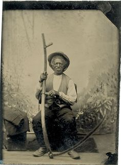 ca. 1870-80's, [tintype portrait of a farmer or share cropper with scythe]  via Cowan's Auctions