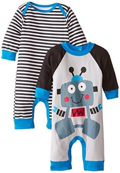 baby rompers | Gerber Baby-Boys Newborn Robot 2 Pack Coverall, Robot, 3-6 Months