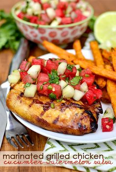 Marinated Grilled Chicken with Cucumber-Watermelon Salsa | 7 Quick Dinners To Make This Week