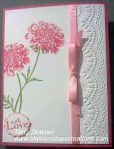 Hi Everyone! I hope you all have had a great week so far and are finishing many projects. I saw this photo or one similar on Pinterest and had to make one of my own. The card is made out of Regal Rose and Whisper White Card Stock. I used the Field Flowers Stamp Set, which is a two-stamp set.