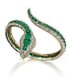 """Pulseira """"serrpente"""" em diamantes e esmareladas, meados do séc. XIX."""