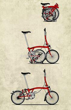 What's an impression drawing! I Love My Folding Brompton Bike Art Print by Andy Scullion Folding Bicycle, Bicycle Art, Bicycle Design, Bicycle Drawing, Velo Brompton, Bicicleta Brompton, Bicycle Illustration, Vespa, Bike Poster