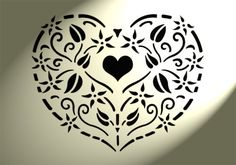 Shabby-Chic-Rustic-Stencil-Heart-Small-Flowers-Vintage-style-A4-297x210mm-Wall