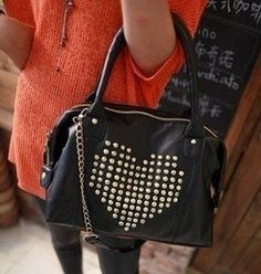 Heart Studded Hobo Bag .   Click to Purchase: http://amzn.to/Ydp97G
