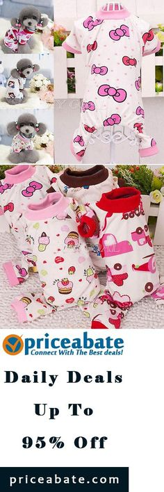 #Priceabate Pet Dog Cotton Pajamas Puppy Soft Cartoon Printed Clothes Jumpsuit Shirt Apparel - Buy This Item Now For Only: $4.99