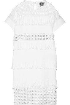 SEA|Fringed broderie anglaise-paneled cotton mini dress|NET-A-PORTER.COM