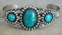 Vintage Old Pawn 3 Turquoise Stone Sterling Bracelet Fred Harvey Style s6.75