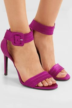 Pedro Garcia - Catalina Frayed Satin Sandals - Plum - IT37.5