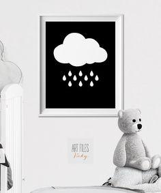 Nursery print, Rainy Cloud, Wall Art, Nursery Art, Poster, Minimal Print, Black and White Print, Kids room, Nursery Decor, ArtFilesVicky