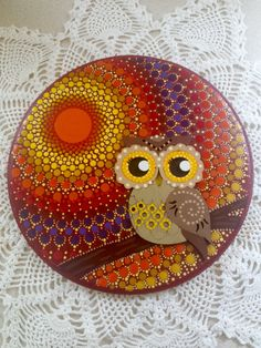Fall Owl Dot Mandala Painting by MadAboutDots on Etsy https://www.etsy.com/listing/454245728/fall-owl-dot-mandala-painting